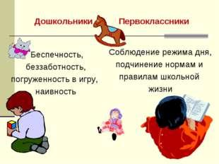 Дошкольники Первоклассники  Беспечность, беззаботность, погруженность в игр
