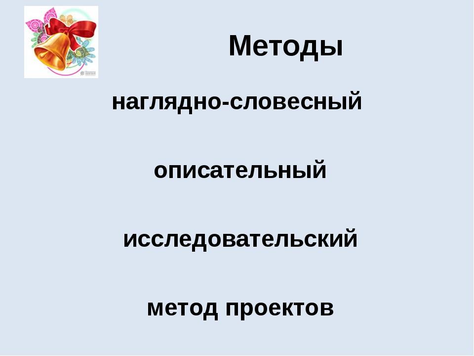 Методы наглядно-словесный описательный исследовательский метод проектов