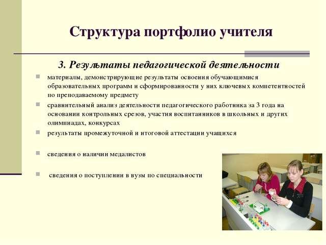 Структура портфолио учителя 3. Результаты педагогической деятельности материа...