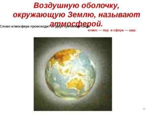 Воздушную оболочку, окружающую Землю, называют атмосферой. Слово атмосфера пр