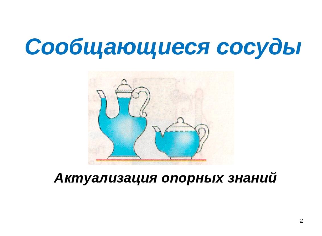 Сообщающиеся сосуды Актуализация опорных знаний *