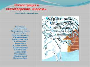 Иллюстрация к стихотворению «Береза». Выполнил Ватченков Макар. Белая береза