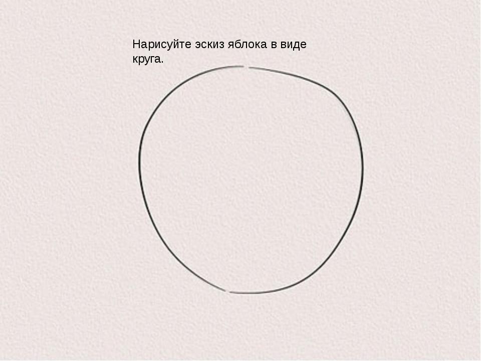 Нарисуйте эскиз яблока в виде круга.