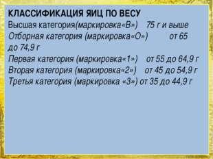 КЛАССИФИКАЦИЯ ЯИЦ ПО ВЕСУ Высшая категория(маркировка«В»)75 ги выше Отбо