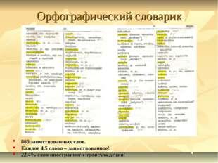 Орфографический словарик 860 заимствованных слов. Каждое 4,5 слово – заимство