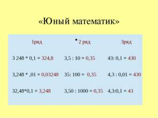 «Юный математик» 1ряд 2 ряд 3ряд 3248 * 0,1 =324,8 3,5 : 10 =0,35 43: 0,1 =4
