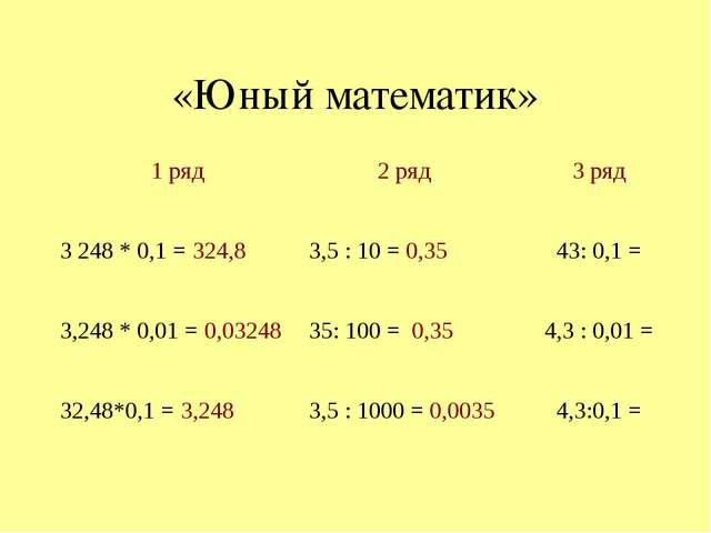 «Юный математик» 1 ряд 2 ряд 3 ряд 3248 * 0,1 =324,8 3,5 : 10 =0,35 43: 0,1...