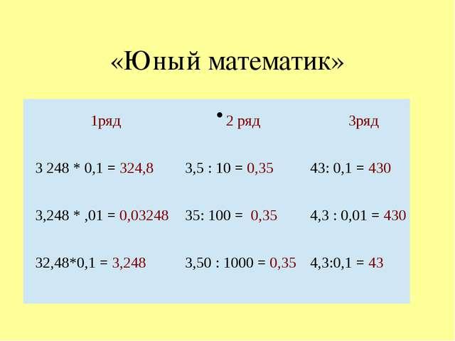 «Юный математик» 1ряд 2 ряд 3ряд 3248 * 0,1 =324,8 3,5 : 10 =0,35 43: 0,1 =4...