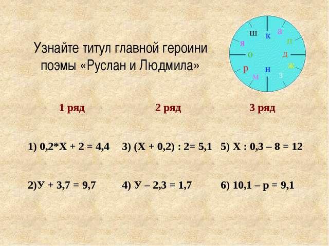 Узнайте титул главной героини поэмы «Руслан и Людмила» 1 ряд 2 ряд 3 ряд 1) 0...