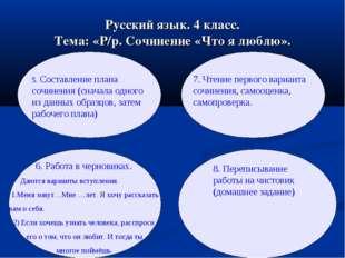 Русский язык. 4 класс. Тема: «Р/р. Сочинение «Что я люблю». 5. Составление пл