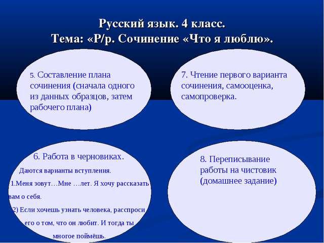 Русский язык. 4 класс. Тема: «Р/р. Сочинение «Что я люблю». 5. Составление пл...