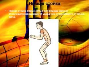 Низкая стойка Низкая стойка применяется для приема мяча от атакующего(нападаю