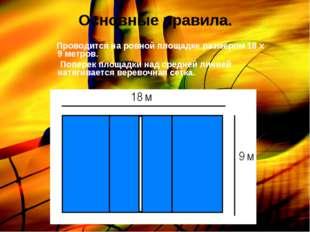 Основные правила. Проводится на ровной площадке размером 18 х 9 метров. Попер