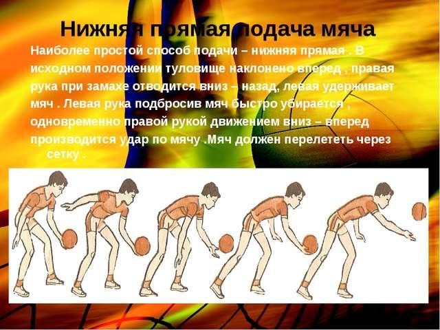 Нижняя прямая подача мяча Наиболее простой способ подачи – нижняя прямая . В...