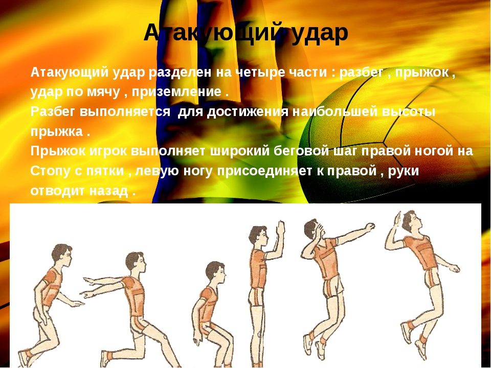 Атакующий удар Атакующий удар разделен на четыре части : разбег , прыжок , уд...