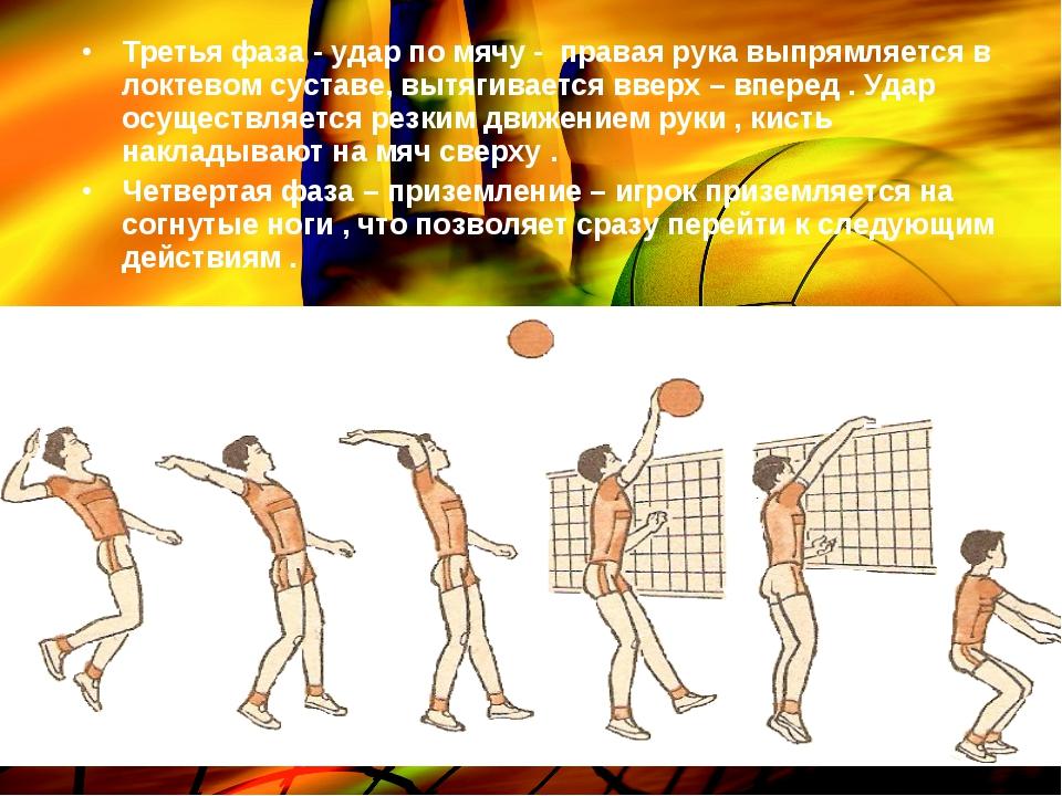 Третья фаза - удар по мячу - правая рука выпрямляется в локтевом суставе, выт...