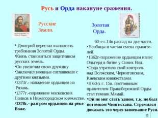 Русь и Орда накануне сражения. Дмитрий перестал выполнять требования Золотой