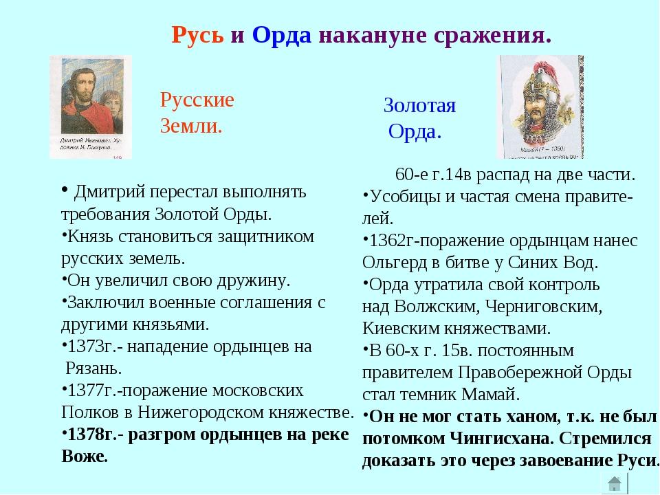 Русь и Орда накануне сражения. Дмитрий перестал выполнять требования Золотой...