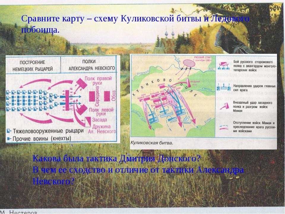 Сравните карту – схему Куликовской битвы и ледового побоища. Какова тактика...