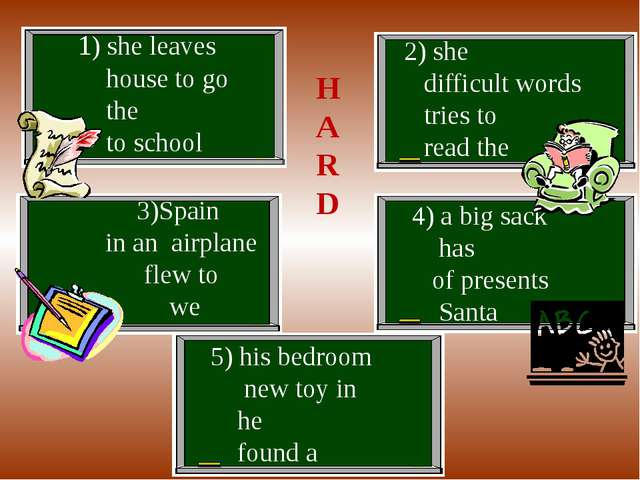 1) she leaves house to go the to school 2) she difficult words tries to read...