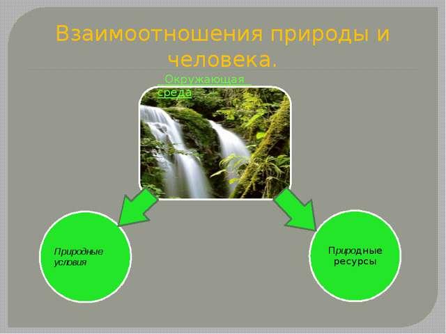 Взаимоотношения природы и человека. Окружающая среда
