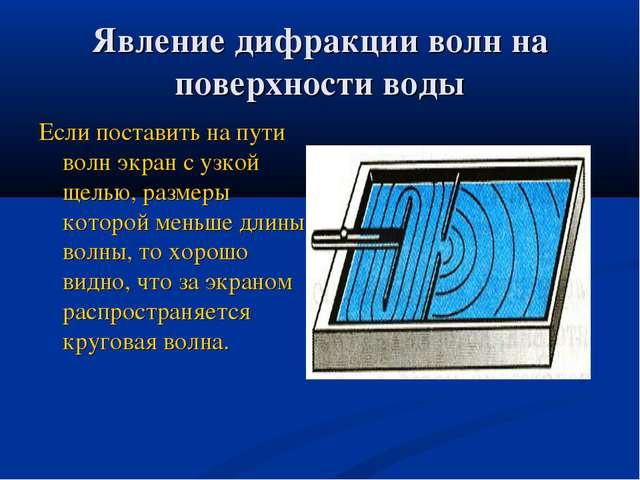 Явление дифракции волн на поверхности воды Если поставить на пути волн экран...