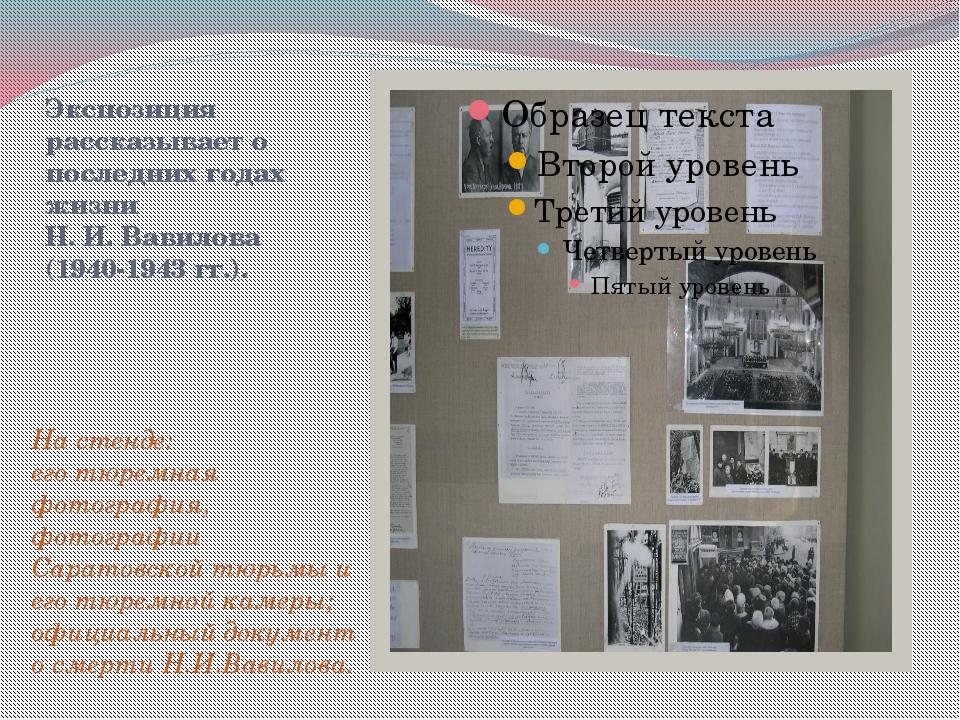 Экспозиция рассказывает о последних годах жизни Н. И. Вавилова (1940-1943 гг....