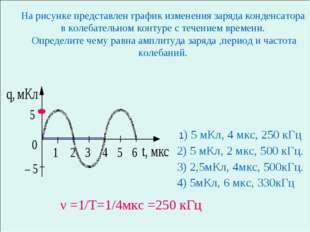 На рисунке представлен график изменения заряда конденсатора в колебательном к