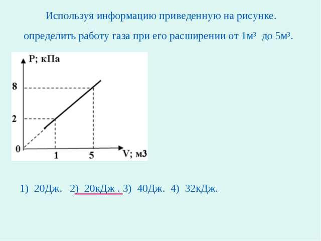 Используя информацию приведенную на рисунке. определить работу газа при его р...