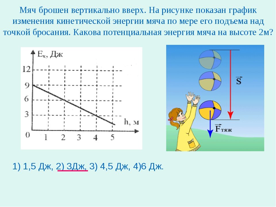 Мяч брошен вертикально вверх. На рисунке показан график изменения кинетическо...