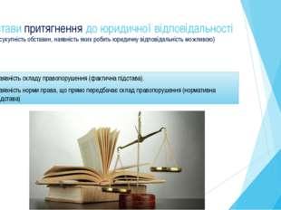Підстави притягнення до юридичної відповідальності (сукупність обставин, наяв