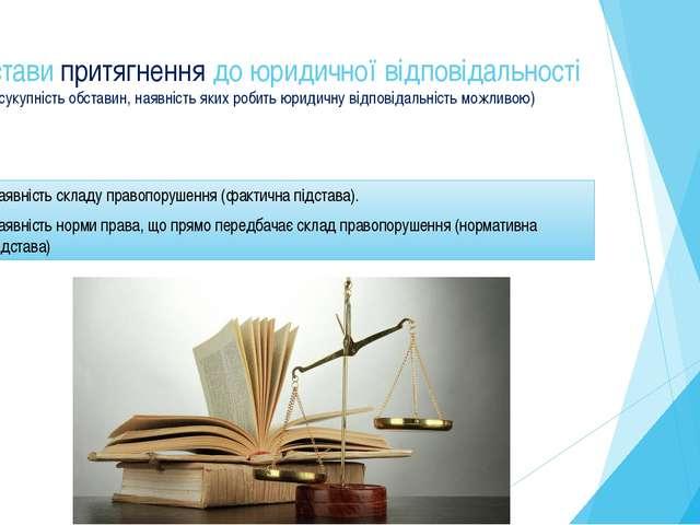 Підстави притягнення до юридичної відповідальності (сукупність обставин, наяв...