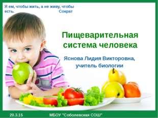 Пищеварительная система человека Яснова Лидия Викторовна, учитель биологии МБ