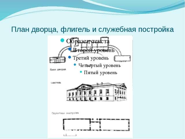 План дворца, флигель и служебная постройка
