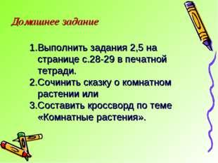 Домашнее задание Выполнить задания 2,5 на странице с.28-29 в печатной тетради