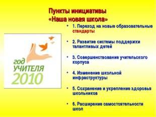 Пункты инициативы «Наша новая школа» 1. Переход на новые образовательные стан