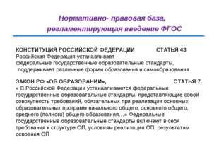 Нормативно- правовая база, регламентирующая введение ФГОС КОНСТИТУЦИЯ РОССИЙС