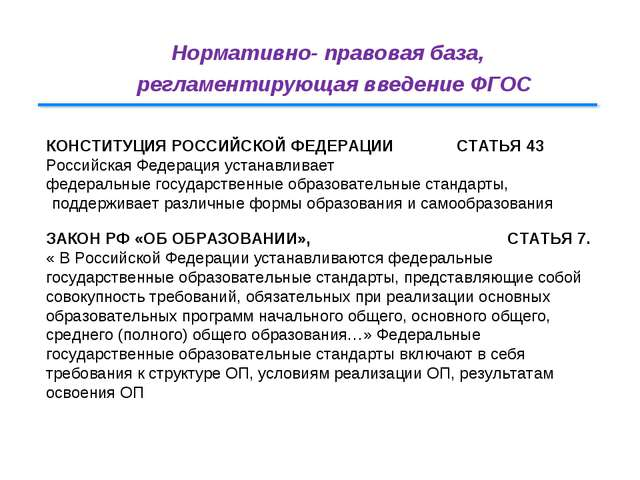 Нормативно- правовая база, регламентирующая введение ФГОС КОНСТИТУЦИЯ РОССИЙС...