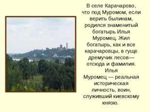 В селе Карачарово, что под Муромом, если верить былинам, родился знаменитый б