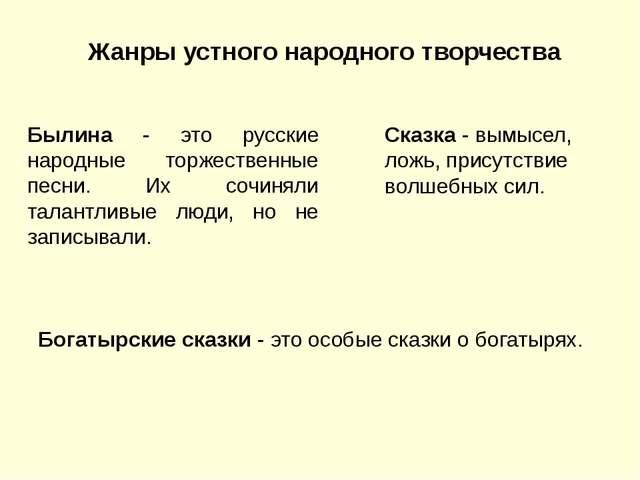 Жанры устного народного творчества Былина - это русские народные торжественны...