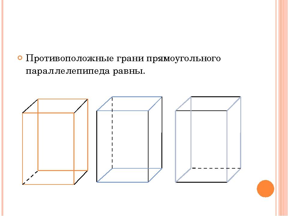 Противоположные грани прямоугольного параллелепипеда равны.