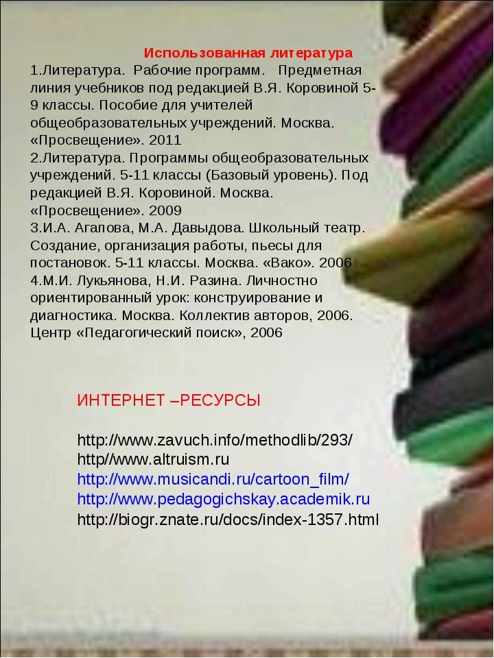 Использованная литература 1.Литература. Рабочие программ. Предметная линия у...