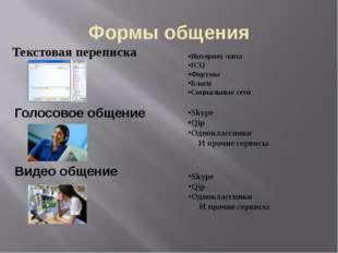 Формы общения Текстовая переписка Интернет чаты IСQ Форумы Блоги Социальные с