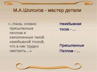 М.А.Шолохов - мастер детали «..глаза, словно присыпанные пеплом и наполненные