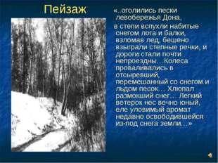 Пейзаж «..оголились пески левобережья Дона, в степи вспухли набитые снегом ло