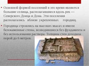 Основной формой поселений в это время являются большие селища, располагавшие