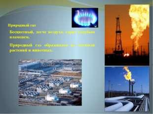 Природный газ Бесцветный, легче воздуха. горит голубым пламенем. Природный г