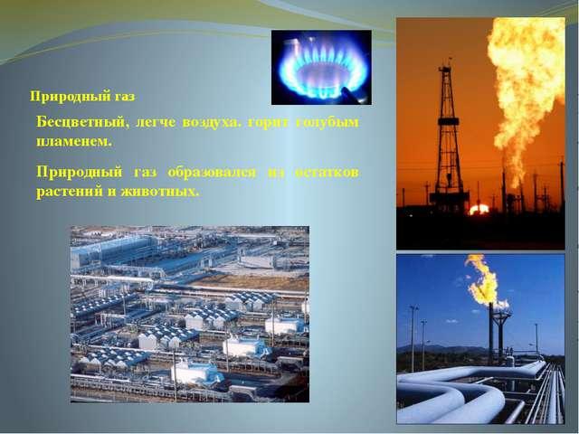 Природный газ Бесцветный, легче воздуха. горит голубым пламенем. Природный г...