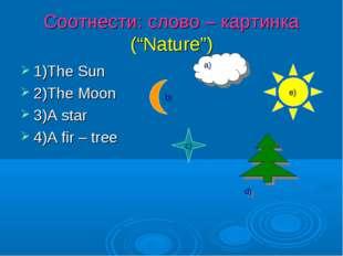 "Соотнести: слово – картинка (""Nature"") 1)The Sun 2)The Moon 3)A star 4)A fir"