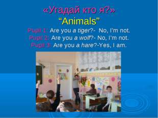 """«Угадай кто я?» """"Animals"""" Pupil 1: Are you a tiger?- No, I'm not. Pupil 2: Ar"""